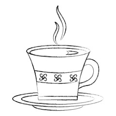 hot beverage decorative tea cup on dish vector illustration sketch