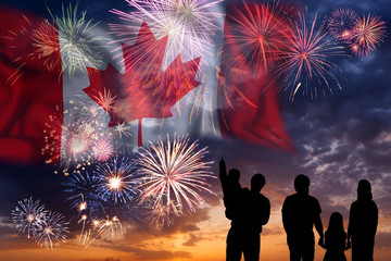 Printed roller blinds Canada Fireworks on day of Canada
