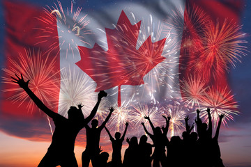 Papiers peints Canada Fireworks on day of Canada