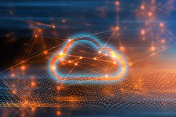 wave with digital internet network background illustration