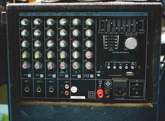 Panel of sound mixer. Vintage Colour.