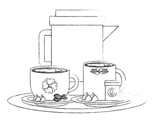 coffee maker and cups with chips chocolate vector illustration sketch