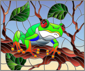 Illustration in stained glass style with bright green frog on plant branches background with leaves  on sky background