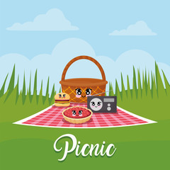 kawaii picnic related icons over landscape background, colorful design. vector illustration