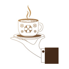 hand holding decorative flower hot coffee cup on dish vector illustration neon design