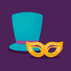 Carnival mask and top hat over purple background, colorful design. vector illustration
