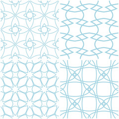 Geometric patterns. Set of blue elements on white. Seamless backgrounds
