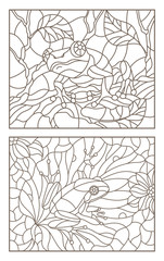 Set of contour illustrations of stained glass Windows with frogs on plants, dark contours on a light background