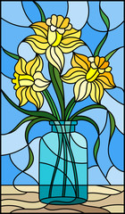 Illustration in stained glass style with still life, bouquet of yellow daffodil in a glass jar on a blue background
