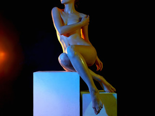 Nude Woman, Colorful bright lights