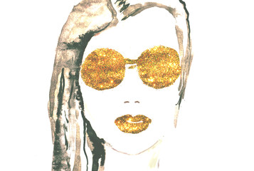 Watercolor beautiful woman with golden glittering lips and eyeglasses on white background