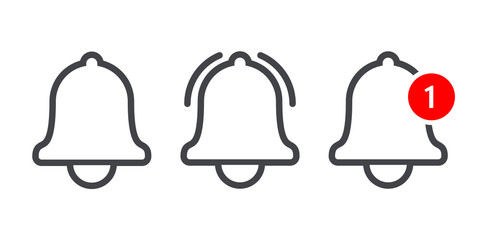Notification message bell vecor line icon