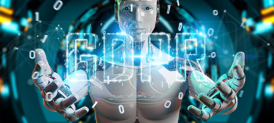 White cyborg using digital GDPR interface 3D rendering