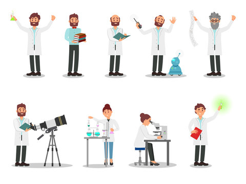 Flat vector set of people scientists. Men and women in white coats. Professionals working in laboratories. Elements for poster about professions