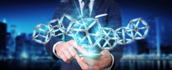 Businessman using digital blue Blockchain 3D rendering