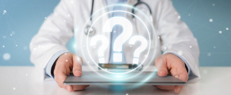 Doctor using digital question marks interface 3D rendering