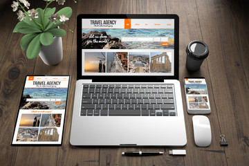 Wall Mural - devices on wooden floor travel agency