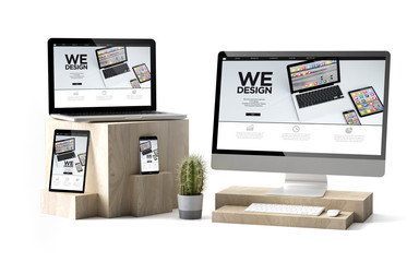 Wall Mural - wooden cubes devices isolated technology software responsive website