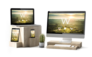 Wall Mural - wooden cubes devices isolated technology template responsive website
