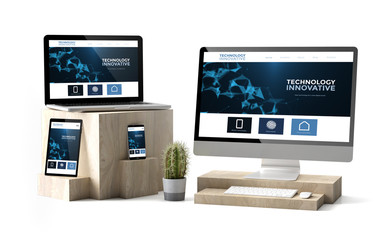 Wall Mural - wooden cubes devices isolated technology innovative responsive website