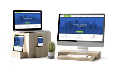 Wall Mural - wooden cubes devices isolated modern responsive website