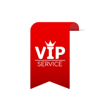 Vip service red ribbon for web. Vector stock illustration.