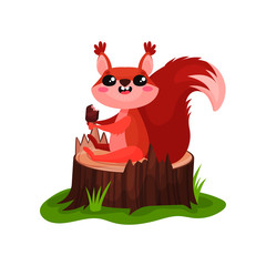 Happy red squirrel sitting on tree stump and eating ice-cream. Flat vector icon of small forest rodent with fluffy tail and adorable muzzle