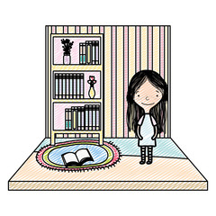 doodle girl with books and flowers vase organized in the bookcase