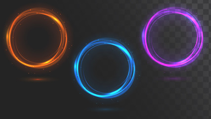Set of glowing circles. Round frames
