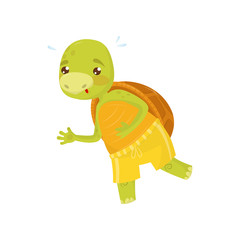 Funny turtle in yellow sports shorts on morning jogging running. Green reptile with brown shell. Flat vector for children book or poster