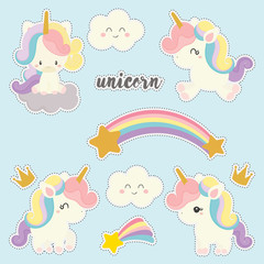 set of cute sticker with unicorn vector