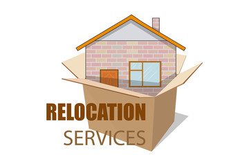 Relocation service. Moving concept. Cargo Truck is transporting. Delivery freight truck illustration. Transport company for relocation and moving. Vector graphics to design.