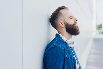 Bearded man taking a quiet moment to relax