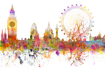 London skyline in grunge style with watercolor blots