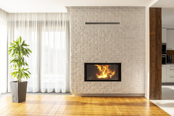 Fireplace on brick wall in bright living room interior of house with plant and windows. Real photo