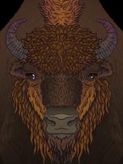 european brown zubr buffalo bison animal. Vector art illustration for men, boys, clothes