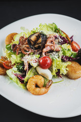 Tasty salad dish from seafood