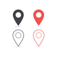 Map location red and red icon isolated with soft shadow. Element for design ui app website interface. Blank template. Location pin