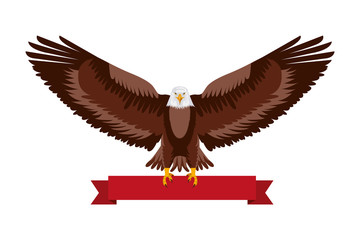 american eagle national red ribbon symbol vector illustration