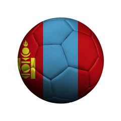 The flag of Mongolia on a soccer ball