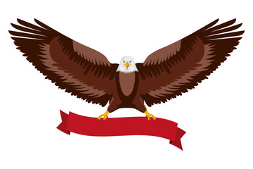 american eagle spread wings with ribbon in the talons vector illustration Fotoväggar