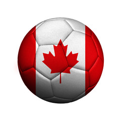 The flag of Canada is depicted on a soccer ball