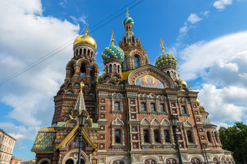 St Petersburg, Russia - Cathedral of Our Savior on Spilled Blood - closeup of domes and architecture details