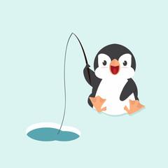 Cute little  penguin fishing in water