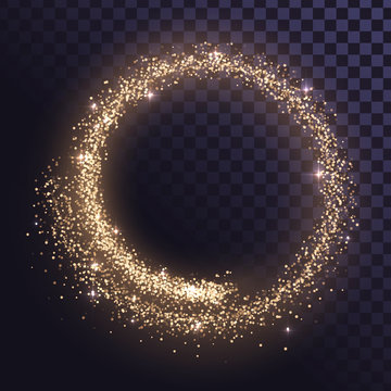 Round glitter frame of gold dust or stars