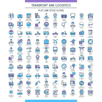 Transport and logistic big icons set. Modern icons on theme delivery, packaging, navigation and transportation. Flat line design icons collection. Vector illustration