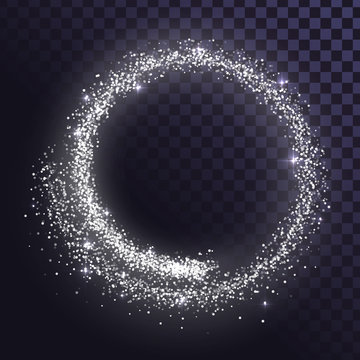 Round glitter frame of silver dust or stars
