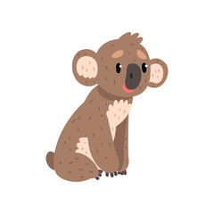 Koala bear sitting on the ground, cute Australian marsupial animal character vector Illustrations on a white background