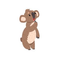 Sweet pensive koala bear, Australian marsupial animal character vector Illustrations on a white background