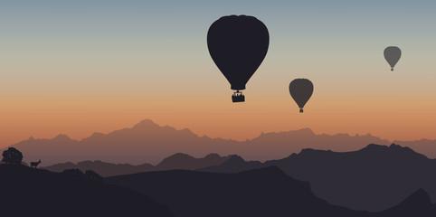 Montgolfière - montagne - Mont Blanc - évasion - liberté - calme - coucher de soleil - France